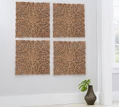 ornate carved wood panel wall art set