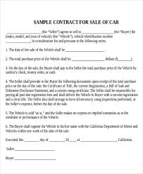 Car For Sale As Is Sample Used Car Sale Contract 7 Examples In Word Pdf