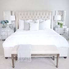 tufted bed mirrored nightstand
