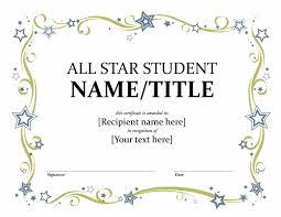 Star Student Certificates All Star Student Certificate Templates Office Com