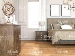 3drendering Gold Dekoration Im Klassischen Schlafzimmer Stockfoto