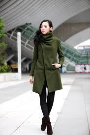 army green asymmetric coat high collar wool jacket winter wool coat for women custom