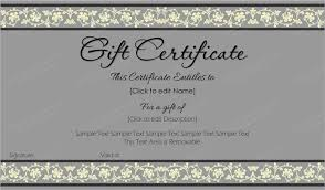 Free Printable Gift Certificate Template Word Beauty In Gray Gift Certificate Template For Word