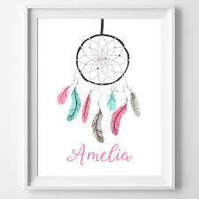 Dream Catcher With Names Unique Personalised Dreamcatcher Name Poster Print Wall Personalised