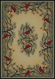 cardinal in pine tree hautman brothers rustic lodge area rug by united weavers genesis collection