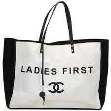 chanel tote bag. preowned 2010s chanel black \u0026 white canvas ladies first shopper tote bag