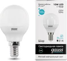 "<b>Лампа</b> светодиодная <b>Gauss</b> ""LED <b>Elementary</b>"", Globe, 10W, E14 ..."