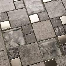 metal mosaic tile mirror kitchen backsplash metal crystal