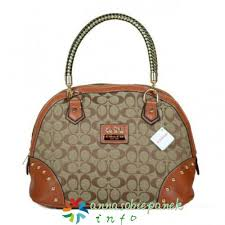 In Brown Coach Madison Stud Monogram Medium Satchels