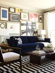 Nice Living Room With Moderm Elegance Design Ideas With Very Nise Black And  White Striped Rug And Blue Sofa Eclectic living room dcor Shoo away  clutter and ...