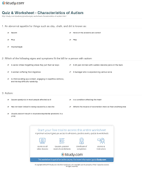 quiz worksheet characteristics of autism com print autism causes signs and management worksheet