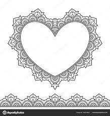 Sada Seamless Hranic Srdce Pro Design Použití Henna Mehndi Tetování