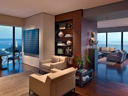Luxurious living room in a high-rise apartment with amazing views ...
