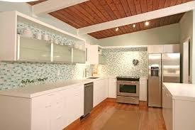 mid century modern kitchen design white drawer unit cast iron sink paint cabinets wooden solid
