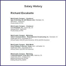 Including Salary History In Resume On Cover Letter With Facile