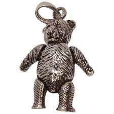 mechanical teddy bear sterling pendant or charm silver by patrick ruby lane