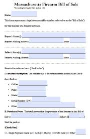 bill of sale template ma free massachusetts firearm gun bill of sale form pdf word doc