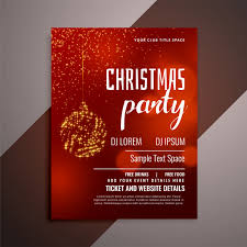 invitation flyer shiny red christmas party invitation flyer design vector free download