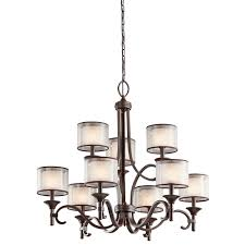 lacey american bronze 9 bulb chandelier with candle shades