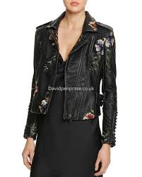 women s moto blanknyc classic studded embroidered faux leather motorcycle jacket in black nj1995