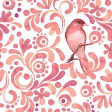 Bird Pattern New Bird On Branch 48 Watercolor Pattern Seamless Background Vector
