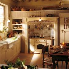 rustic french country kitchens. Modren Kitchens Small Rustic French Country Style Kitchen Ideas With White Wooden Cabinet  And Wall Mounted Utensils Above Stove Plus Built In Storage Kitchens R