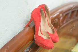 coral wedding shoes. Coral Wedding Shoes On The Gatherings Of The Bride Stock Photo