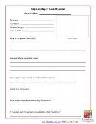 Biography Report Form Template And Organizer Book Report