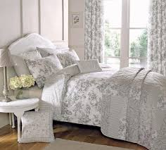 image of gray flowers bedding and curtains