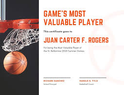 White Basketball Mvp Sports Certificate Templates By Canva