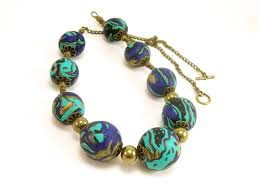beaded necklace with free earrings blue and turquoise polymer clay jewelry
