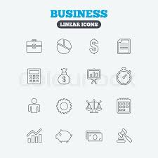 Justice Stock Chart Business Icons Businessman Briefcase Stock Vector