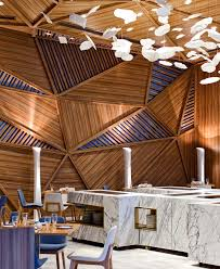 yue restaurant timber ceiling wall panels interior