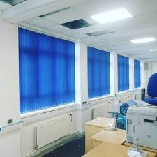 office blue. Blue Veritcal Blinds For Office Window