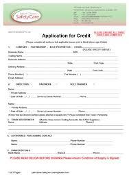 Credit Application Form Safetycare Australia