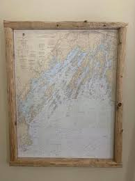 Paintings On Nautical Charts Casco Bay Nautical Chart In Driftwood Frame