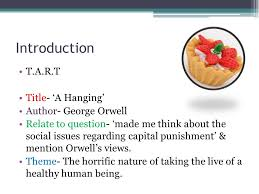 critical essay writing ppt  introduction t a r t title a hanging author george orwell