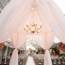 fabric chuppah with chandelier for wedding at sls hotel los angeles