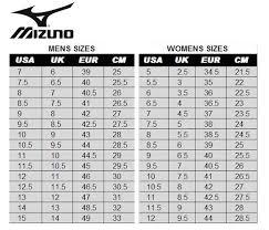 Mizuno Size Chart Womens Www Studiozanolla Com