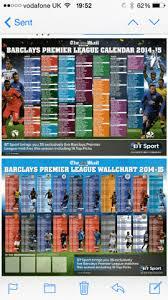 Premier League Wall Chart Premier League Mail Sunday Superb Giant Glossy Premier