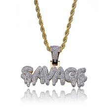 2019 hip hop savag diamond custom name combination bubble letter pendant necklace micro cubic zirconia gold silver color copper pendant necklace from