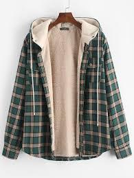 Plaid Chest Pocket <b>Fleece Drawstring Hooded</b> Jacket