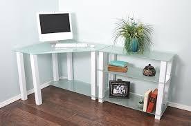 modern corner office desk. Sleek Modern White Glass Corner Desk With Shelved Extension Office