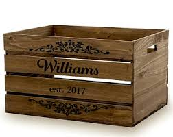Rustic Wood Wine Crate, Personalized Wood Storage Crates, Wine Crate Gift  Basket, Rustic