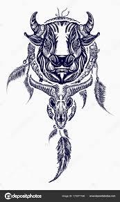 Kmenové Býka A Dreamcatcher Tattoo Umění Indické Lapače Stock