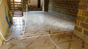 wet underfloor heating can be installed on solid concrete or suspended timber floors in the case of solid floors pipes are buried in the finishing layer