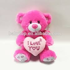 china valentine festival gifts plush pink teddy bear with love heart pillow