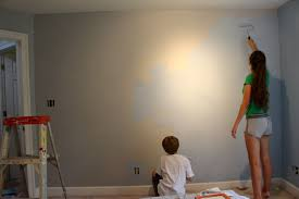 here is the room this morning after one coat of valspar reserve i love this paint i will be doing a second coat today and then i have to paint the