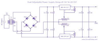 dual adjustable variable power supply circuit using lm lm dual power supply circuit
