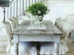 shabby chic round dining table white cotton tablecloth white top cover pendant fixture copper chandelier brown